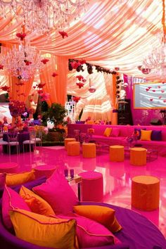 PINK, PURPLE, ORANGE; COLOUR - So much to love about this! The draping, the purple, pink and orange colour palette and most definitely those gorgeous chandeliers!!