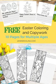 Beautiful Coloring with Bible Verses +Simple Copywork for Young Kids! Perfect addition to your Homeschool Easter Celebrations! Easter Activities For Kids, Easter Crafts For Kids, Spring Activities, Easter Ideas, Free Christian Clip Art, Kindergarten Coloring Pages, Easter Colouring, Easter Printables, Free Printables