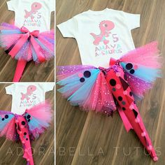 Custom order - Aqua, pink and purple dino tutu set