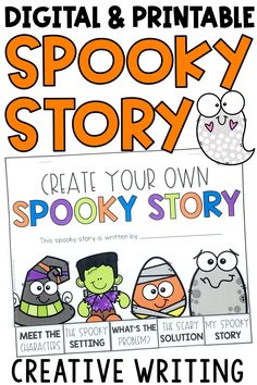 Have students create their own spooky story with these fun Halloween writing prompts! Use the printable version or digital version in Google Slides or Seesaw. Students use this booklet like story starters, & they will use ideas like haunted houses & pictures to for this fall writing center! Perfect for first grade, 2nd grade, or third grade classroom in Language Arts. Students can use the graphic organizers included, as well as following story elements of character, setting, problem & solution.