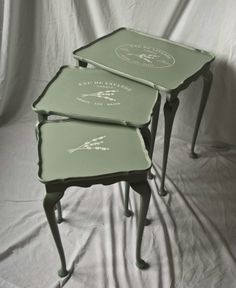 """Vintage Shabby Chic nest of tables - Annie Sloan's """"Duck Egg Blue"""" 