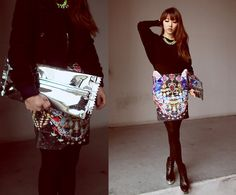 Butterfly skirt and candy wrap clutch (by Ivy Xu) http://lookbook.nu/look/4325423-butterfly-skirt-and-candy-wrap-clutch