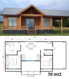 Enlarge the one small bath room, perhaps enlarge the kitchen & why are there no closets? Little House Plans, Barn House Plans, Bedroom House Plans, Cabin Plans, Small House Plans, House Floor Plans, Modern Tiny House, Tiny House Cabin, Small House Design