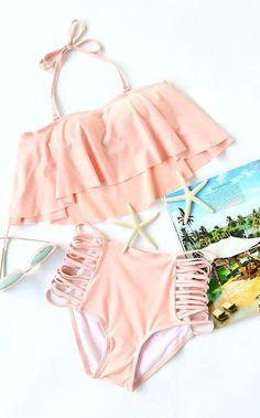 Pink Off The Shoulder Criss Cross High Waist Bikini Set - Bademode Bikini Babes, Bikini Modells, Bikini Beach, Strap Bikini, Summer Bathing Suits, Girls Bathing Suits, Cute Swimsuits, Cute Bikinis, Trendy Swimwear