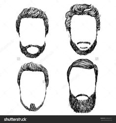Hand drawn vector set of hipster man style haircut, beard, mustache  constructor
