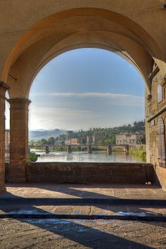 Arno Morning from Ponte Vecchio - Florence, Italy
