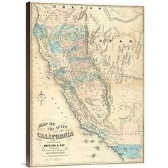 Global Gallery 'Map of the State of California, 1853' by John B. Trask Graphic Art on Wrapped Canvas