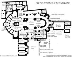This is the floor plan of the Church of the Holy Sepulchre. It is believed to be the holiest christian site in the world.