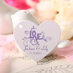 Personalized Heart Shaped Favor Tag - Purple Love (Set of 60)