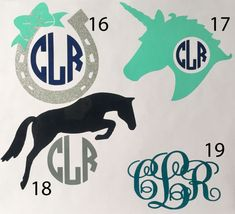 Equestrian Horse Monogram Vinyl Decal   by TheHoundstoothHorse