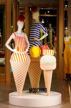 Ice cream themed window at the Moschino boutique in Milan