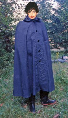 Blue rubber-lined mackintosh cape. Rain Cape, Rainy Days, Capes, Raincoat, Satin, Texture, Cotton, Jackets, How To Wear