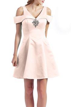 MACloth Women Short Cold Shoulder V Neck Satin Homecoming Dresses Wedd Blush Pink Dresses, Lavender Dresses, Purple Dress, Semi Formal Wear, Formal Wear Women, Homecoming Dresses, Wedding Dresses, Satin Skirt, Fitted Bodice