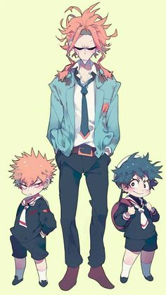 All Might, Katsuki, Izuku, cute, young, childhood, school, uniforms, outfits, suit; My Hero Academia