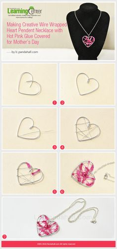 Making #Beebeecraft #WireWrapped #Heart Pendent #Necklace with Hot Pink Glue Covered for gift