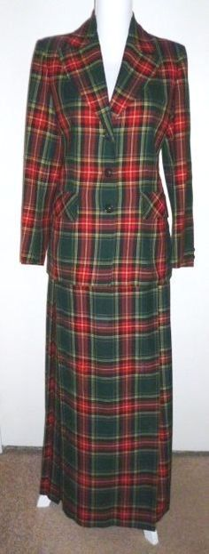 Vintage HIGHLAND QUEEN Plaid Suit Jacket LONG Pleated Wraparound Skirt Wool 12 #HighlandQueen #Business