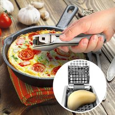 San Sero Chef Quality Stainless Steel Garlic Press - Self Cleaning and Easy to Squeeze with Large Garlic Chamber Clean Dishwasher, Japanese Design, Garlic Press, Different Recipes, Kitchen Dining, Ships, Construction, Cleaning, Steel