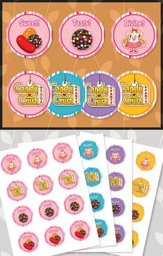 Candy Crush Cupcake Toppers 4 Color Combo Pack by ApothecaryTables