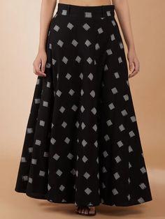 Kurta Neck Design, Flare Skirt, Ikat, Black Cotton, Loom, Clothes For Women, Knitting, Clothing, Skirts