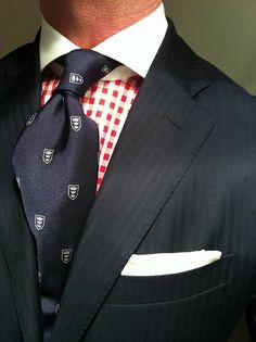Navy herringbone suit by Ralph Lauren