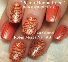 Henna Nail Art on Orange Nails