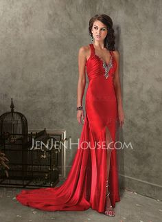 Evening Dresses - $133.99 - Fascinating Mermaid V-neck Court Train Charmeuse Evening Dresses With Ruffle Beading (017004347) http://jenjenhouse.com/pinterest-g4347
