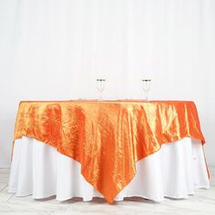 """90"""" x 90"""" Orange Crinkle Crushed Taffeta Square Tablecloth Overlay Rainbow Wedding Decorations, Paper Decorations, Parties Decorations, Table Overlays, Chair Sashes, Crinkles, Theme Color, Halloween Party Decor, Wedding Table"""