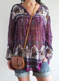 Vintage seventies gauze hippie tunic @ www.secondhandnew.nl