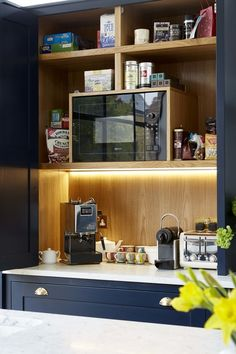 We probably can't spare the space, but this concealed countertop coffee/tea/microwave station would be amazing