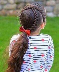 moños con trenzas, niña con el pelo largo castaño con trenzas en la parte trasera de la cabeza, coleta con cinta roja