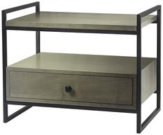 Boxton Side Table - Textured charcoal finish with light grey maple veneer. 600mm x 400mm x 500mm h