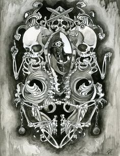 Coat of Death skull skeleton tattoo flash art by ~Ezekielsdoom