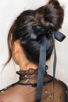 bridal hairstyles high bun decorated with ribbon giadoeshair via instagram