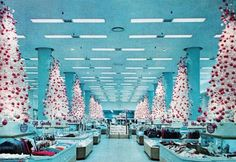 The Broadway department store at Crenshaw Shopping Center, Los Angeles, circa 1959 - vintage Christmas. LOVE the white trees. Christmas Past, Merry Little Christmas, Modern Christmas, Retro Christmas, Christmas Shopping, All Things Christmas, Christmas Concert, Vintage Christmas Photos, Vintage Holiday