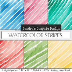 "Watercolor digital paper: ""STRIPES WATERCOLOR PAPER"" with handpainted stripes watercolor paper in various colors (122)"