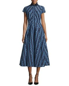 B3DW7 Lela Rose Check Fil Coupe Belted Shirtdress, Navy/Periwinkle
