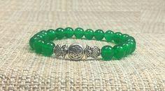 8mm Emerald Green Jade Gemstones Celtic Owl Tibetan Stretch Bracelet, Healing Chakra Protection Yoga Aries Taurus Gemini Libra Bracelet by ArtGemStones on Etsy