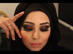 Extreme red smokey eye double wing eyeliner arabian inspired makeup tuto...