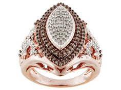 Park Avenue(Tm) .75ctw Round Champagne & White Diamond 18k Rose Gold Over Sterling Silver Ring
