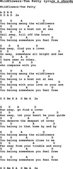 tomm petty wilfllowers | Love Song Lyrics for: Wildflowers-Tom Petty ...
