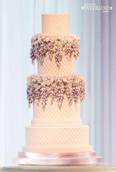 Beautiful Garden Trellis Tiers With Flowers Wedding Cake