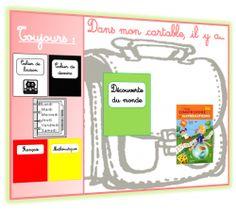 Affichage des livres et cahiers à mettre dans le cartable pour ne rien oublier à l'école