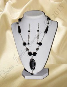 Onyx with silver plated metal beads H via DJC - Handmade jewelry. Click on the image to see more!