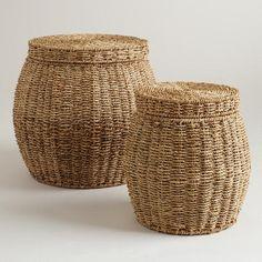 Round Janna Baskets With Lid. Laundry BasketsStorage ContainersLarge ...