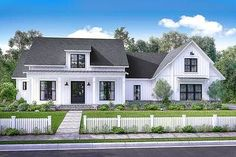 There's no shortage of curb appeal for this beautiful 4 bedroom modern farmhouse plan. Visit our site for the newest Farmhouse House Plans. Change the roof to metal and enlarge the rooms just a bit and it's perfect! Modern Farmhouse Exterior, Farmhouse Design, Farmhouse Style, Craftsman Farmhouse, Cottage Exterior, Garage Exterior, Car Garage, Southern Farmhouse, Southern Style