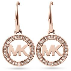 Michael Kors Rose Gold Rose Gold-Tone Pave Crystal Logo Drop Earrings ($75) ❤ liked on Polyvore featuring jewelry, earrings, rose gold, pave crystal jewelry, rose gold earrings, michael kors earrings, crystal jewelry and pink gold earrings