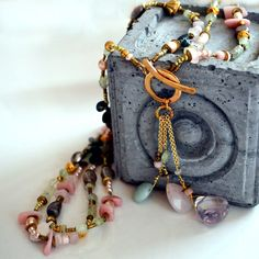 Multi Strand Gemstone Beaded Lariat Necklace - Pearl, Moss Agate, Pink Peruvian Opal, Amethyst , Rose Quartz, Prehnite Necklace- Long by PETALTOMETALJEWELS on Etsy