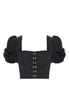 The Black Hook & Eye Puff Sleeve Top. Head online and shop this season's range of tops at PrettyLittleThing. Kpop Fashion Outfits, Stage Outfits, Cropped Tops, Black Crop Tops, Love Fashion, Womens Fashion, Korean Fashion, Fashion Design, Kpop Mode