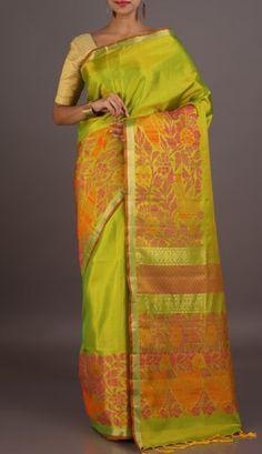 2b59a3037d3189 Sandhya Parrot Green With Designed Broad Weave Border Pallu Pure Mulberry  Silk Saree Handloom Saree