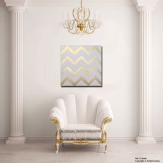 Gold and White Chevron Painting by ArtByCornelia on Etsy